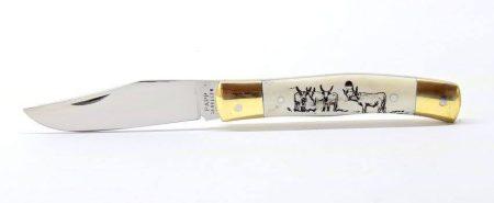 Maskara bicska , gravírozott agancs markolat szürke marha gulya